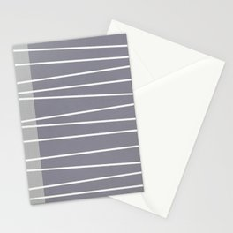 Mid century modern textured gray stripes Stationery Cards