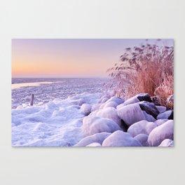 Frozen lake Markermeer, The Netherlands at sunrise Canvas Print