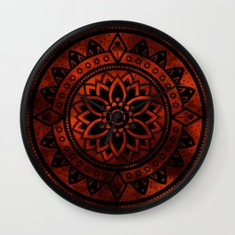 Burnt Orange & Black Patterned Flower Mandala Wall Clock