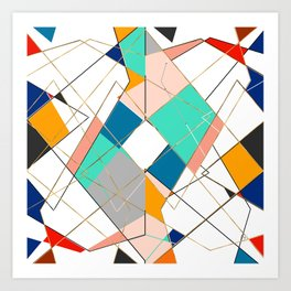 Modern Colorful Abstract Gold Geometric Strokes Art Print