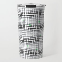 Dottywave - Grey and green wave dots pattern Travel Mug