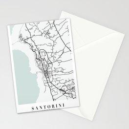 Santorini Greece Blue Water Street Map Stationery Cards