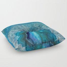 Blue agate marble faux druse crystal quartz gem gemstone geode mineral stone photograph hipster Floor Pillow