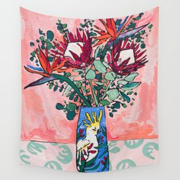 Cockatoo Vase on Painterly Pink Wall Tapestry