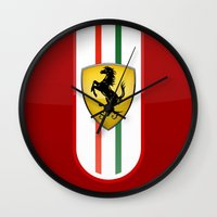 ferrari Wall Clocks featuring FERRARI by Smart Friend