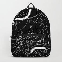 Black on White London Street Map II Backpack