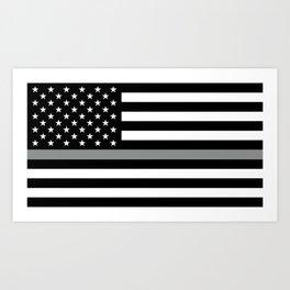U.S. Flag: Black Flag & The Thin Grey Line Art Print