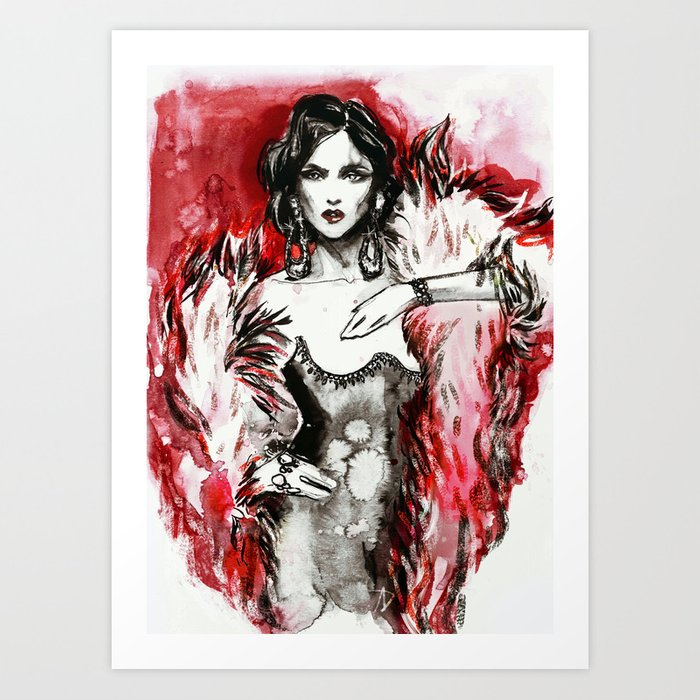 Red fur for her Art Print