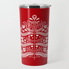 Scandinavian Folk Art Christmas Tree Travel Mug