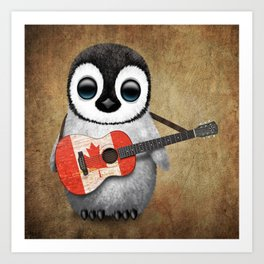 Baby Penguin Playing Canadian Flag Guitar Art Print