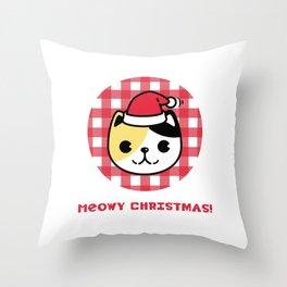 Meowy Christmas Cat Throw Pillow