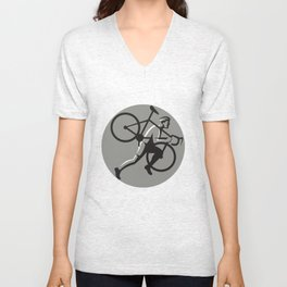 Cyclocross Athlete Carrying Bicycle Circle Retro Unisex V-Neck