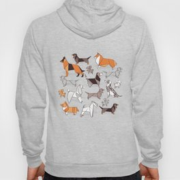 Origami doggie friends // grey linen texture background Hoody