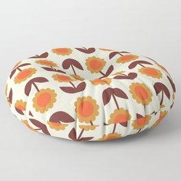 Retro 70s Wallpaper Flowers Floor Pillow