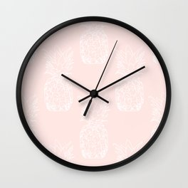 Peite pineapples pink Wall Clock