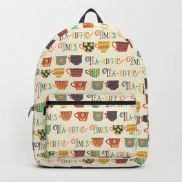 Tea-riffic Times. Retro inspired tea cups - beige Backpack