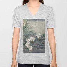 12,000pixel-500dpi - Ohara Koson - Top Quality Art - Five Chicks Unisex V-Neck