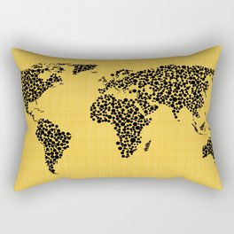 Yellow world map Rectangular Pillow
