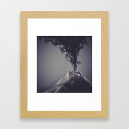 Smoking woman, sensual brunette, black intense smoke Framed Art Print