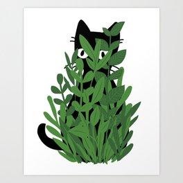 Cat in Green Art Print