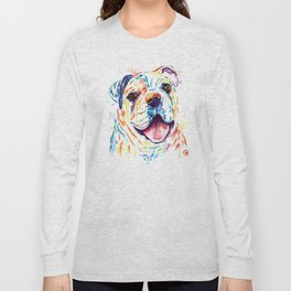 Bulldog Colorful Watercoor Pet Portrait Painting - Shelby Rue Long Sleeve T-shirt