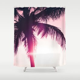 pink palm tree silhouettes kihei tropical nights Shower Curtain