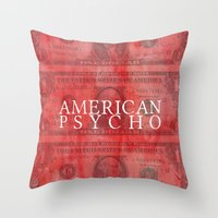 american psycho Throw Pillows featuring American Psycho by Robert Payton