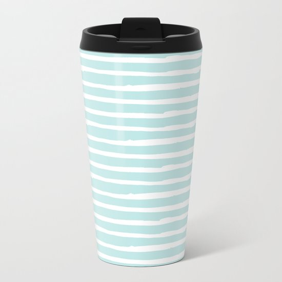 Elegant Stripes Succulent Blue and White Metal Travel Mug