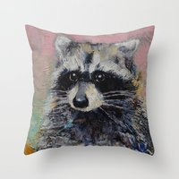 raccoon Throw Pillows featuring Raccoon by Michael Creese