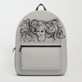Windy Hair Women Sketch  Backpack