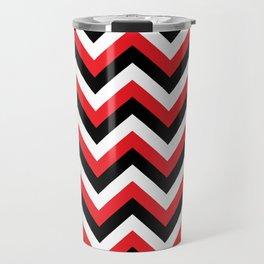 Red Black and White Chevrons Travel Mug