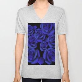 Blue Halftone Roses Unisex V-Neck