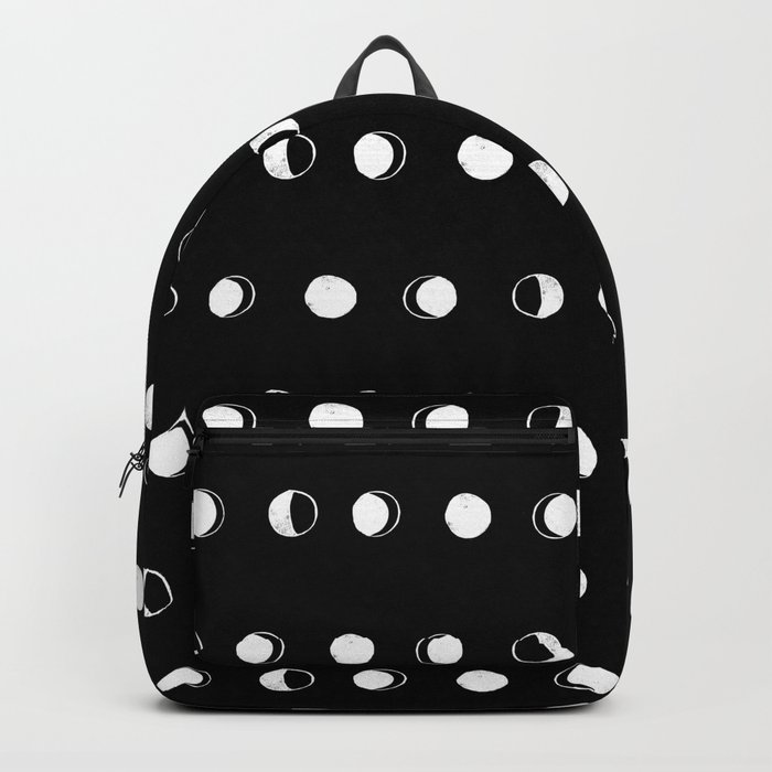 Linocut moon phase black and white minimal college dorm decor basic must haves Backpack