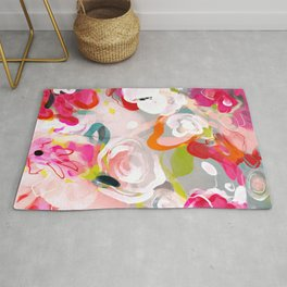 Dream flowers in pink rose floral abstract art Rug
