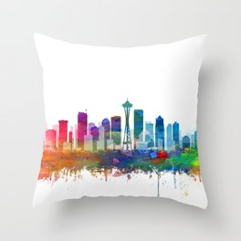 Seattle Skyline Watercolor by Zouzounio Art Throw Pillow