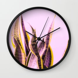 Long Leaves Plant On Pink Background #decor #society6 #buyart Wall Clock