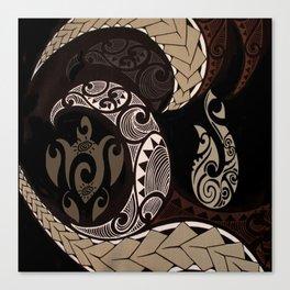 Hawaiian Tapa Fish Hook and Honu Canvas Print