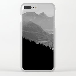 Grey mountains Clear iPhone Case