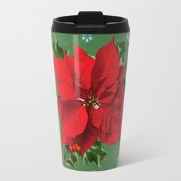 SNOW FLAKES & RED CHRISTMAS POINSETTIA HOLLY BERRIES ART Travel Mug