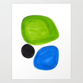 Mid Century Vintage Abstract Minimalist Colorful Pop Art Lime Green Phthalo Blue Black Bubbles Art Print