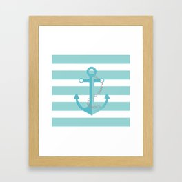 AFE Nautical Aqua Ship Anchor Framed Art Print