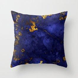 Gold Blue Indigo Malachite Marble Throw Pillow