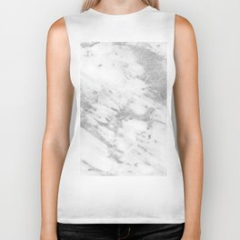 Marble - Silver and White Marble Pattern Biker Tank