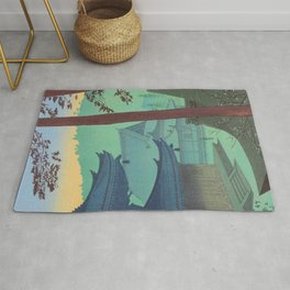 Asano Takeji Japanese Woodblock Print Vintage Mid Century Art Teal Turquoise Sunrise Shrine Rug