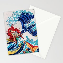 Mermaids love surfing Stationery Cards