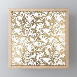Vintage faux gold elegant floral damask Framed Mini Art Print