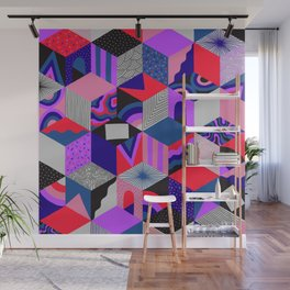 Isometric Cubes - Teal/Orchid/Strawberry Wall Mural