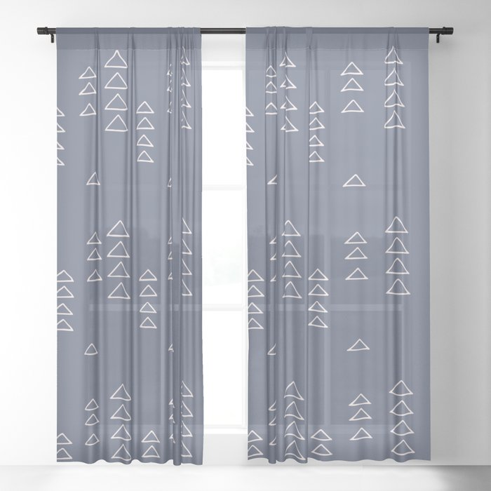 Modern Minimalist Triangle Pattern in Slate Blue Sheer Curtain