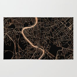 Black and gold Rome map Rug