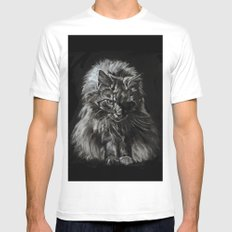 Who's for Dinner? Big Black & White Main Coon Cat MEDIUM Mens Fitted Tee White
